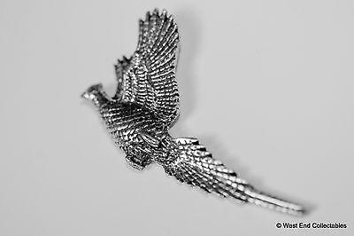 Rising Pheasant Pewter Pin Brooch-British Artisan Signed Badge- Shooting Hunting 3