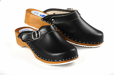 059e2fe068f WOMENS HAND MADE Clogs Ladies Wooden Sole 100% Natural Leather Upper Size 3  - 8