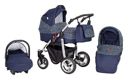 Kombi Kinderwagen ,Kinderwagen 3 in 1 ,Buggy + Babyschale + Lufträder + Extras