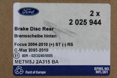 1809259 C-Max 2025944 Bremsbeläge hinten Ford Focus Original Bremsscheiben
