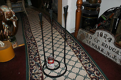 Interesting Gothic Medieval Floor Standing Candelabra-Iron Steel-Holds 3 Candles 7