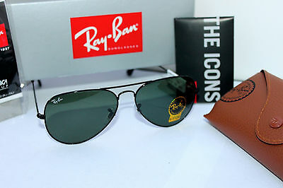 0f95a67c8d ... New Authentic Ray Ban Aviator Rb3026 L2821 62Mm Green G-15 Lens Black  Frame 2
