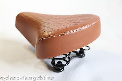 4a13cd08a84 ... LADIES BIKE SADDLE Vintage Bicycle SEAT TAN BROWN Quilted Vinyl COMFORT  Springs 11