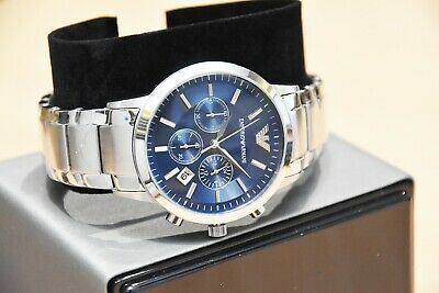New Genuine Emporio Armani Mens Ar2448 Watch Blue Dial Stainless Steel £319 Rrp 7