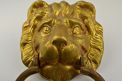Vintage Large Heavy Lion Head Brass Door Knocker 8 Inches High, 2+ Pounds