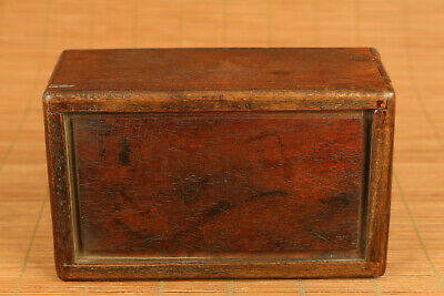 Chinese wood hand carving cow statue inlay conch box secret button open rare 5
