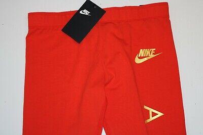 Nike Air Sport Metallic Cotton Leggings Girls - Red Aq9176-634 - M / 10-12 Years 6