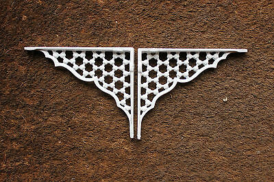 "2 x 6"" x 5"" HONEYCOMB ANTIQUE CAST IRON VICTORIAN SHELF BRACKETS WHITE BR05wx2 4"