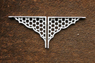 "Pair of 6"" x 5"" SMALL HONEYCOMB ANTIQUE CAST IRON VICTORIAN SHELF BRACKETS WHITE 4"