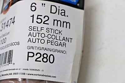 "Box - 6 Rolls NEW Norton 600 Abrasive 6"" Self Stick Adhesive Discs P280 Grit 4"