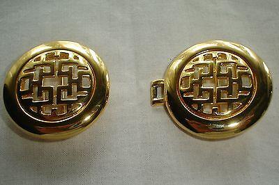 Vintage Dotty Smith Double Round Locking Oriental Design Gold Belt Buckle Signed 3