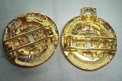 Vintage Dotty Smith Double Round Locking Oriental Design Gold Belt Buckle Signed 5