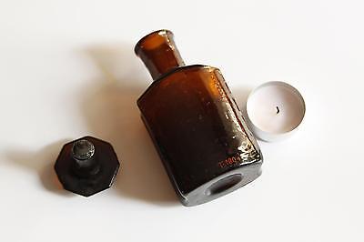 Apothekerflasche, Form selten, TINCT. CHELIDONI rund mit 4 Kanten,alt,emailliert