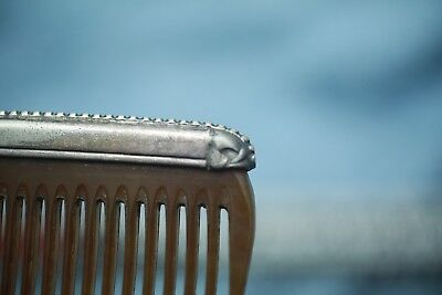 Vintage Antique Sterling Silver And Bakelite Comb ! Amazing Shape ! Late 1800's 5
