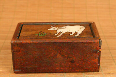 Chinese wood hand carving cow statue inlay conch box secret button open rare 7