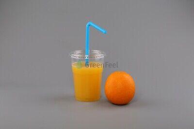 200 x Disposable Smoothie Cups Domed Flat Slot Lids Milkshake Juice Slush Cup 5