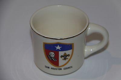 Boy Scouts coffee mug Sam Houston Council Texas SCOUT vtg