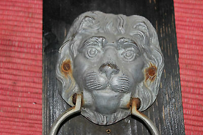 Vintage Lion Head Door Knocker Mounted On Wood-Metal Lion Head Knocker-LQQK 3