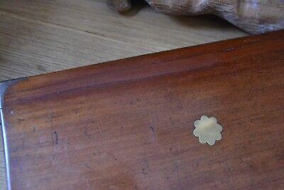Vintage wooden writing slope brass inlayed working lock key 11