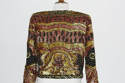 Jasdee Vintage Beaded & Sequins Jacket Hand Work Blk/Copper/Gold Style 9930 3