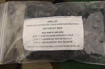 Genuine Us Army Military Molle Buckle Backpack Repair Kit Bag Black