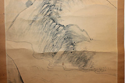 Old Antique Japanese Landscape Scroll Painting Artist Signed