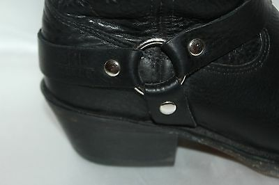 DOUBLE H Boot Company Black Leather Harness Square Toe Western Cowboy Boots 6.5 3