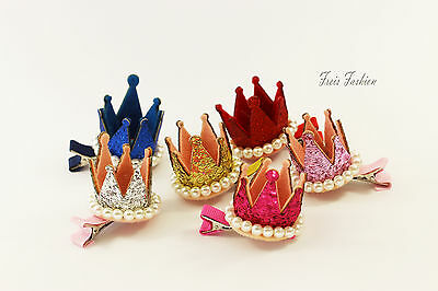 Haarklammer Haarspange Krone Crown Perlen gold Haarschmuck A453