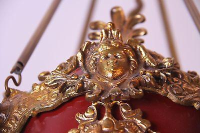 Vintage Brass/Bronze Spherical Chandelier Cherub/Masks/Stars 6