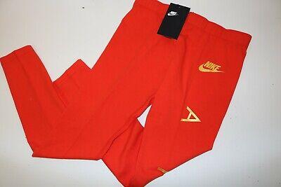 Nike Air Sport Metallic Cotton Leggings Girls - Red Aq9176-634 - M / 10-12 Years 3
