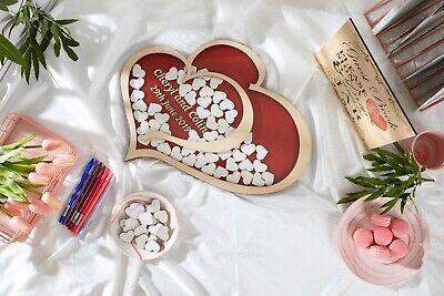 Personalised Wedding Party Guest Book Alternative Wooden Hearts Drop Jar Box 5