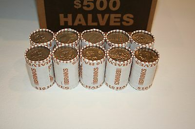 Unsearched! 2 Rolls of Bank Wrapped Kennedy Half Dollars Possible Silver