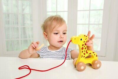 Arrastre para Bebe de Madera Jirafa juguete para arrastrar con cuerda iwood 3