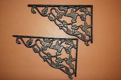 "(9) Hummingbird Design Patio Corbels, Huge Cast Iron Hummingbird, 11 7/8"", B-40 2"