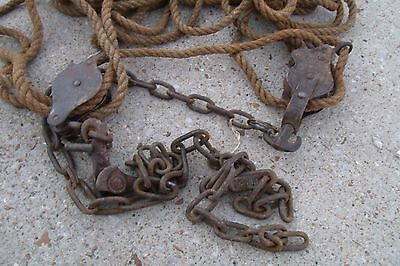 """Vintage 2 Different  Small Pulley Stretcher 1/2"""" thick 60 ft Manila Rope 2"""