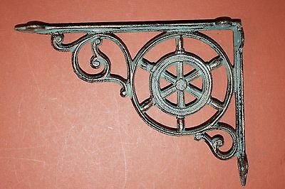 (2)Pcs,maritime Decor, Shelf Brackets, Ships Wheel,helm, Bronze-Look,corbel B-31