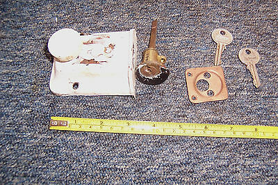 Vintage metal door lock no keep rim lock key stamped Silca Italy used 2