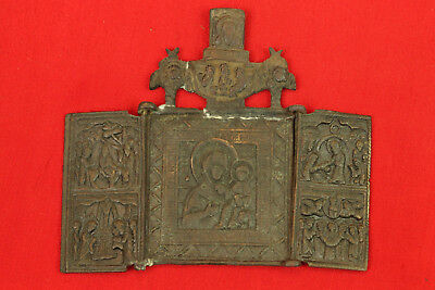 Old Antique Original Folding Russian Brass Bronze Travel Icon Tryptich 2