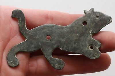 Scarce Roman Bronze Large Panther Plaque Ornament Circa 200-400 Ad 4