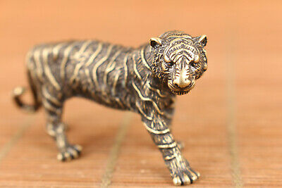 rare chinese old bronze art tiger statue figure collectable good stand 7