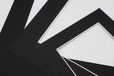 Black Photo Picture Frame Mounts Bevel Cut 1.4mm White Core Mount board 2