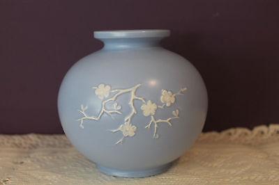 "Copeland Spode Pastel Blue 5-1/4"" Vase With Embossed Cherry Blossom - K1177 2"