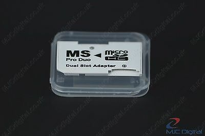 Memory Card Dual 2 Slot Adapter Micro SD TF to MS Pro Duo PSP  in a BOX, HQ 6