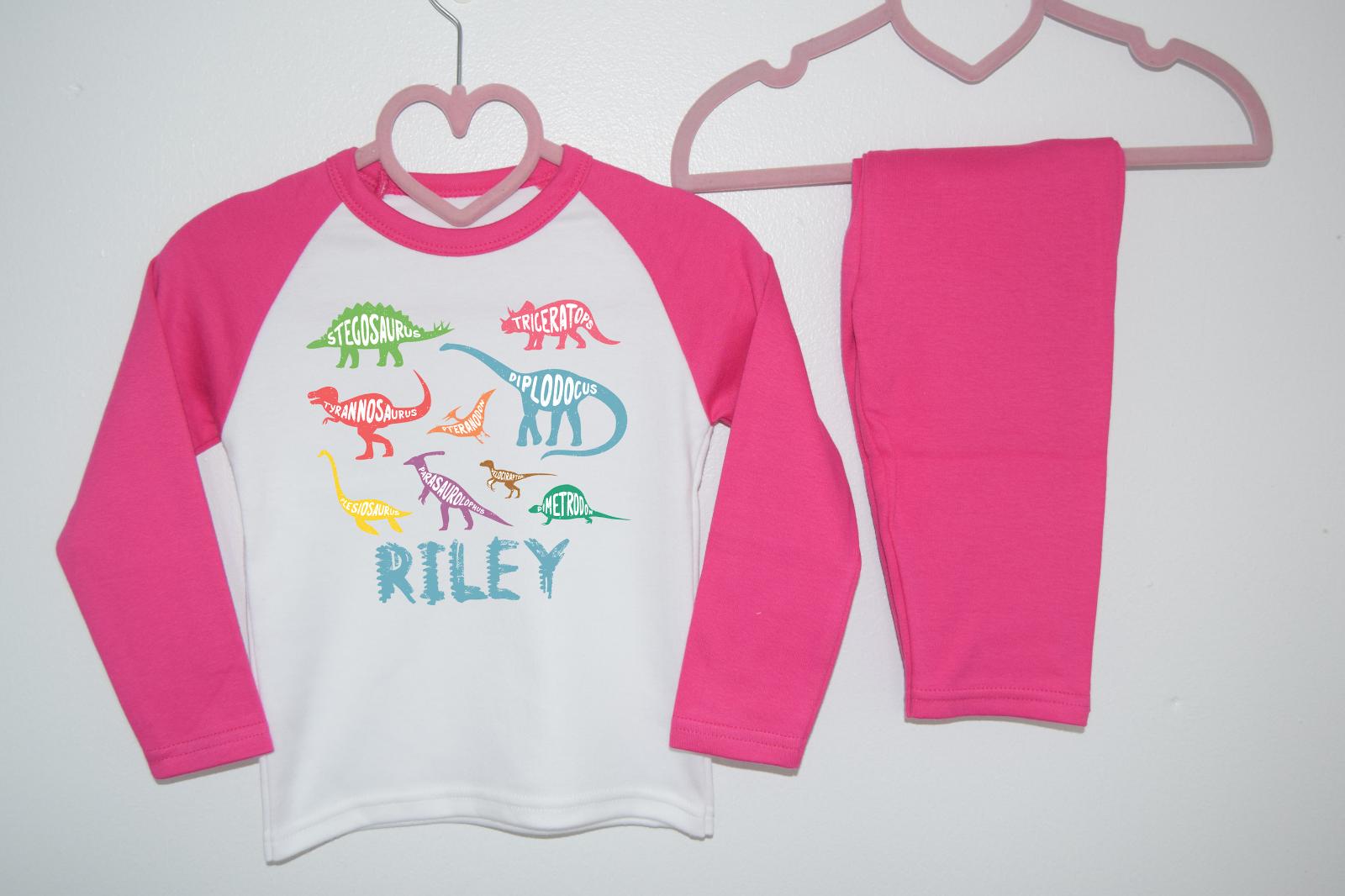 Personalised Dinosaur Name Kids Pyjamas Children's Pjs Birthday Gifts Boys Girls 2