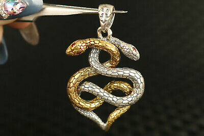 solid Silver Hand Carved Dual Snake Statue Pendant Netsuke gift decorate 6