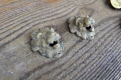 Lot Of 2 Antique Furniture Drawer Pulls Victorian Style Lion Face Brass Ornement 2