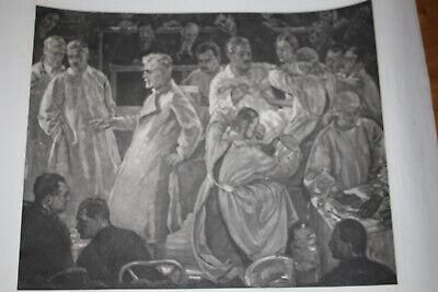 Seltene Litographie, Med Uni Wien, Autopsie Lehrsaal, um 1930 4