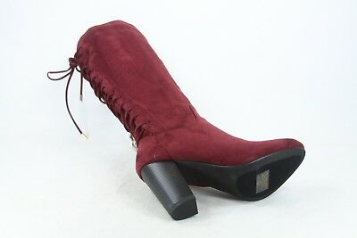 NEW Women/'s Back Lace Up Chunky Heel Zipper Knee High Boots Shoes size 5.5-10