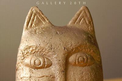 Magnificent Egyptian Bastet Polychromed Clay Sculpture! Cat God Feline Vtg 5