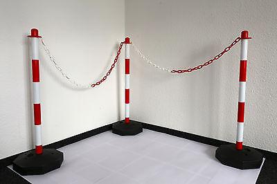 Kunststoffsockel 12 x Absperrpfosten//Kettenpfosten 900 x 40 mm Weiss//Rot PE